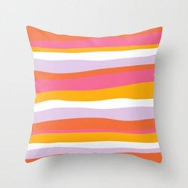 cali beach stripes Throw Pillow