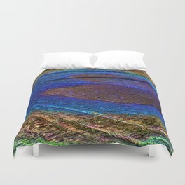 Peacock feather close up Duvet Cover