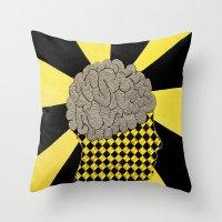 brain Throw Pillows featuring Brain by Art By Carob