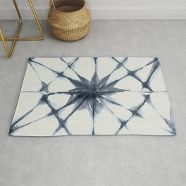 Shibori Starburst Indigo Blue on Lunar Gray Rug