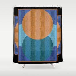 Orange Blues Geometric Shapes Shower Curtain