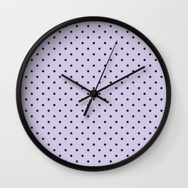 Small Black Polka Dots On Lilac Background Wall Clock