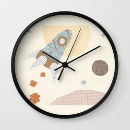spaceship collage Wall Clock
