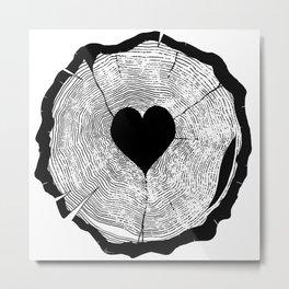 Heart Tree Rings Metal Print
