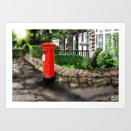 Red Post Box and Cul-De-Sac [Digital Architecture Illustration] Art Print