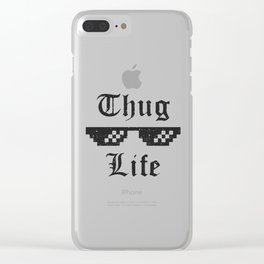 Thug life glasses print Clear iPhone Case