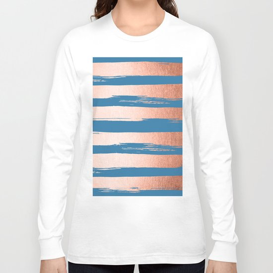 Trendy Stripes Sweet Peach Coral Pink + Saltwater Taffy Teal Long Sleeve T-shirt
