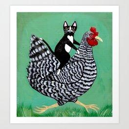 Cat on a Chicken Art Print