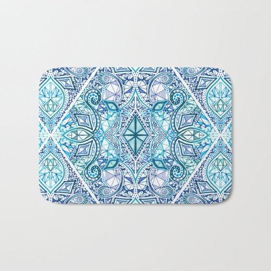 Blue and Teal Diamond Doodle Pattern Bath Mat