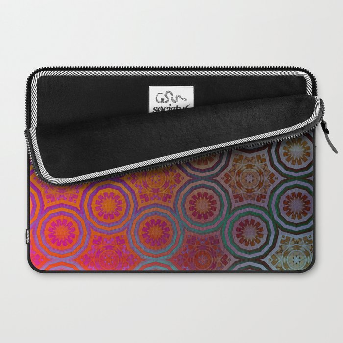 Pink, Purple, Yellow, and Orange Circles and Cogs Laptop Sleeve