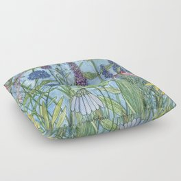 Lady Slipper Orchid Garden Flower Botanical Floral Watercolor on Canvas Floor Pillow