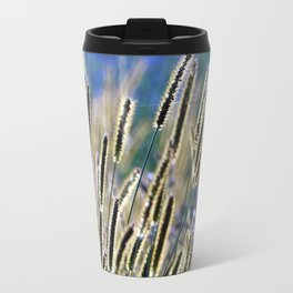 tall grasses with seeds with blue sky and sunny day Travel Mug