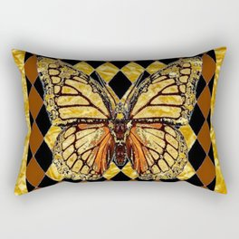 ABSTRACTED BROWN & GOLD MONARCH BUTTERFLY Rectangular Pillow