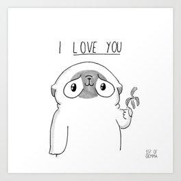 PUG Mochi - I love you Art Print