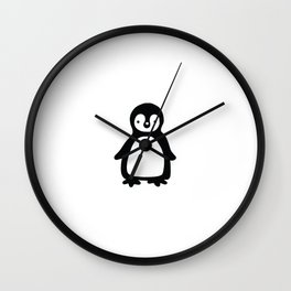 Simple black and white pinguin Wall Clock