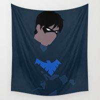 minimalism Wall Tapestries featuring Nightwing Minimalism by BellaAlderton