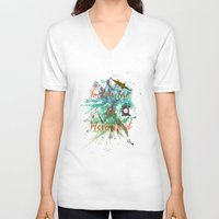 neverland V-neck T-shirts featuring Follow me to Neverland by Sybille Sterk
