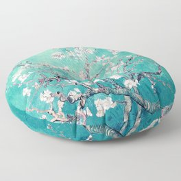 Vincent Van Gogh Almond Blossoms Turquoise Floor Pillow