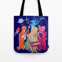 space jam Tote Bags featuring Space Jam by Morbid Illusion