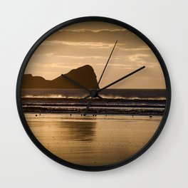 Rhossili beach and Worms Head Wall Clock