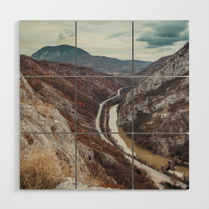 Beautiful photo of the canyon in Serbia, with river and the highway in the middle Wood Wall Art