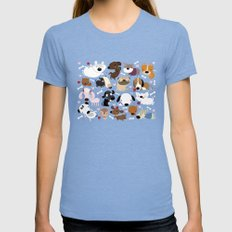Dog pattern Womens Fitted Tee Tri-Blue MEDIUM
