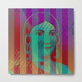 Striped Lady Metal Print
