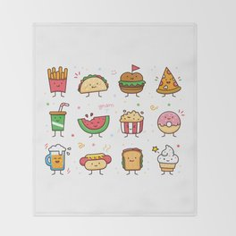 Food Doodle Throw Blanket