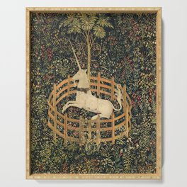 The Unicorn In Captivity Serving Tray