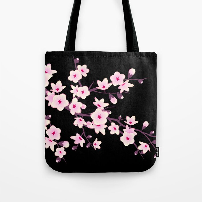 Cherry Blossoms Pink Black Tote Bag
