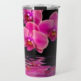Mystical Pink Orchids Reflections Travel Mug