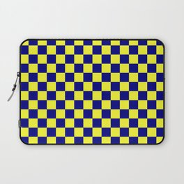 Electric Yellow and Navy Blue Checkerboard Laptop Sleeve