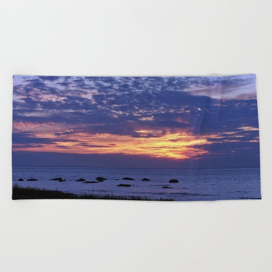Flaming Clouds Beach Towel