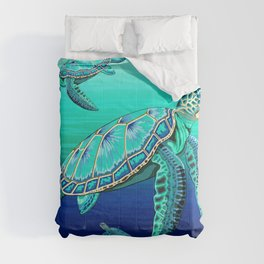 Sea Turtle Turquoise Oceanlife Comforters