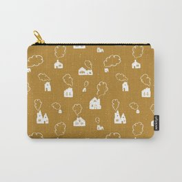 Cozy Winter Homes Pattern - Golden Ochre Carry-All Pouch
