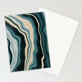 Modern agate geode turquoise champagne glitter marble pattern Stationery Cards