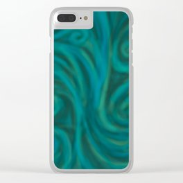 teal swirl Clear iPhone Case