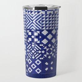 tile blue background Travel Mug