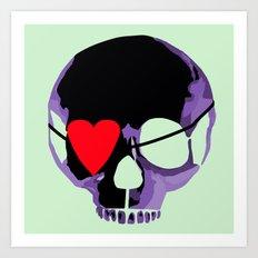 Purple skull with heart eyepatch Art Print