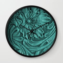 Teal Flower Tooled Leather Wall Clock