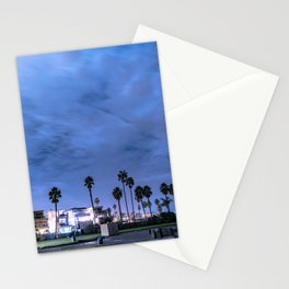 Nighttime in a beach town Stationery Cards