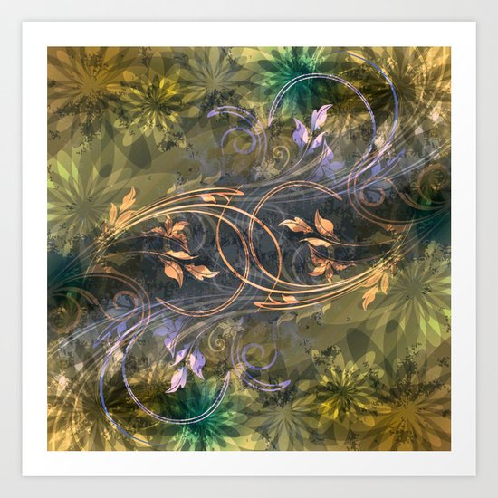 Earth Tone Floral Leaf Swirl Abstract Art Print