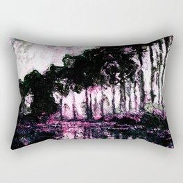 Monet Poplars on the Banks of the River Epte Pink Dark Rectangular Pillow