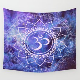 Om Mandala Purple Lavender Blue Galaxy Wall Tapestry