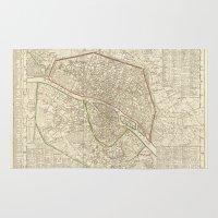 paris map Area & Throw Rugs featuring PARIS by Le petit Archiviste