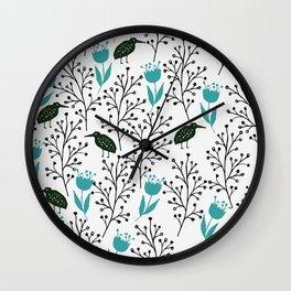 Kiwi Garden - black and blue Wall Clock