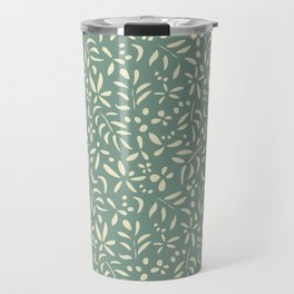 Damask: Cream on Light Green Travel Mug