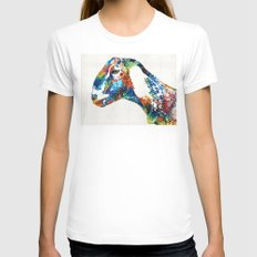 Colorful Goat Art By Sharon Cummings LARGE White Womens Fitted Tee