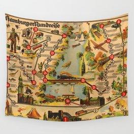 Map Of Hamburg 1947 Wall Tapestry