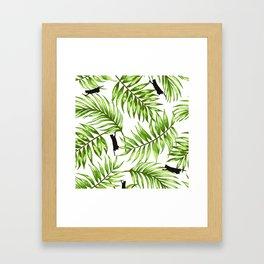 Cat Leaves Framed Art Print